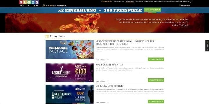 Slotsmillion Casino Aktionen