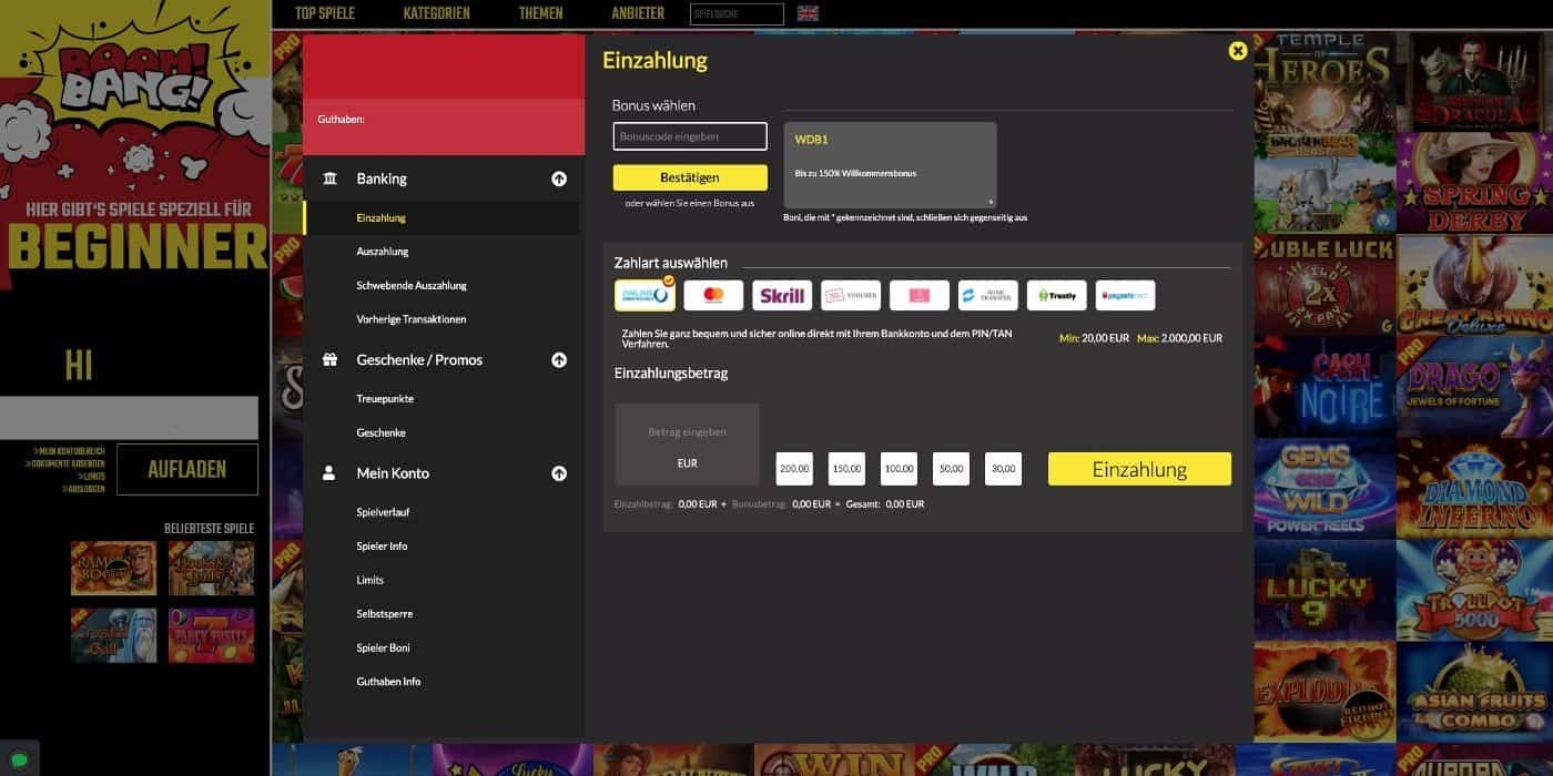 BoomBang Casino Zahlungen