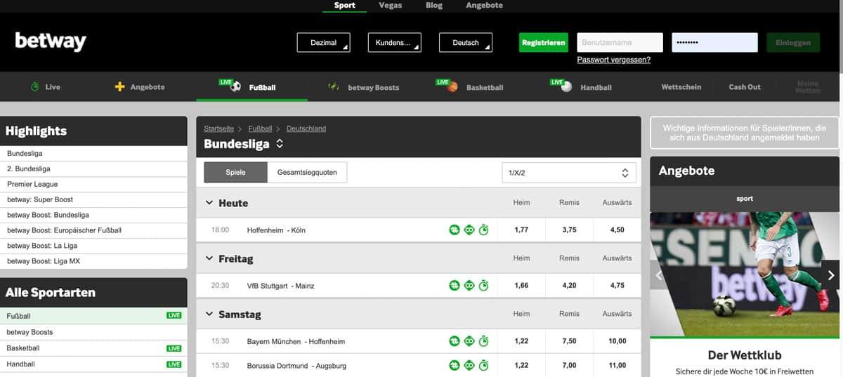 Betway Bundesliga Wetten