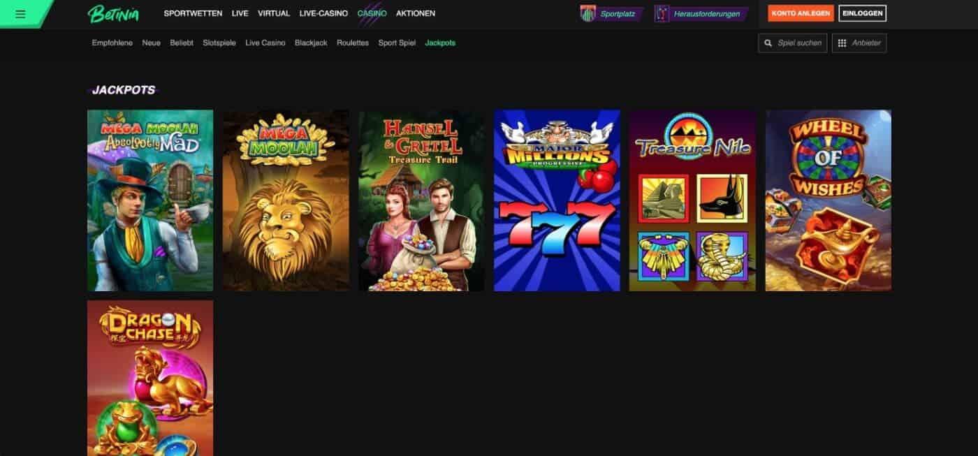 Betinia Casino Jackpots