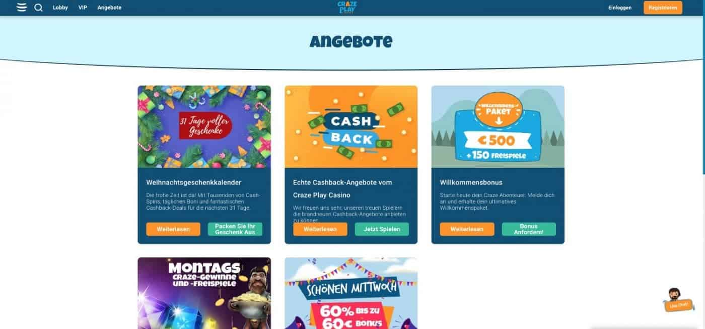Craze Play Casino Bonus Aktionen