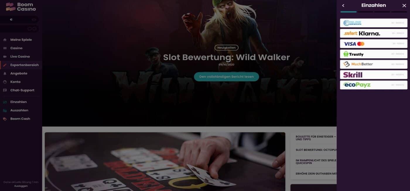 Boom Casino Zahlungsmöglichkeiten