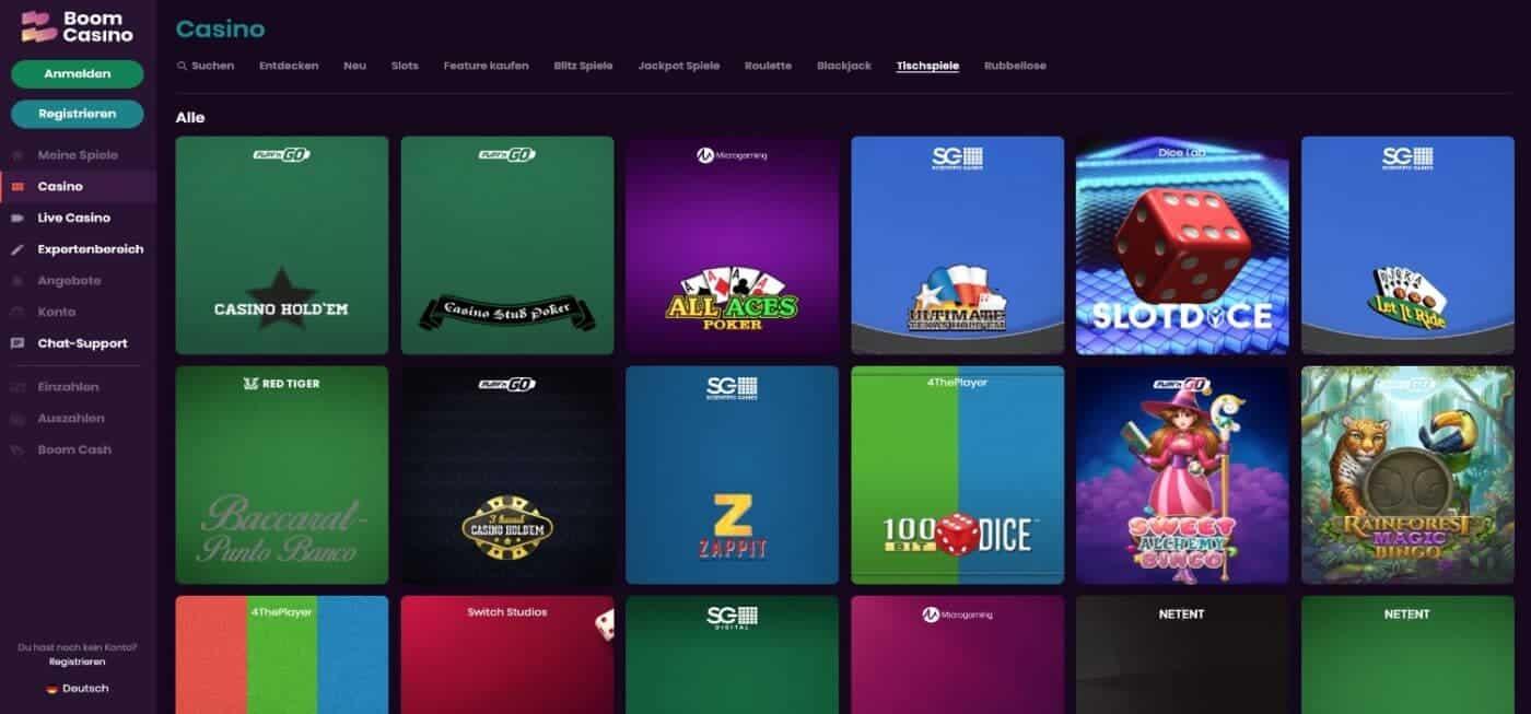 Boom Casino Tischspiele