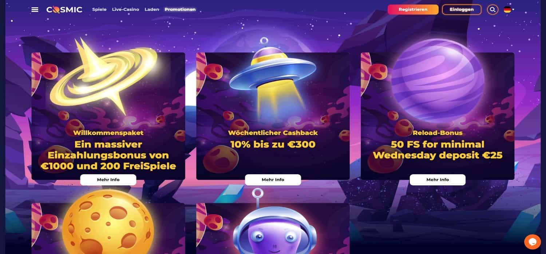 Cosmic Slot Casino Bonus Aktionen