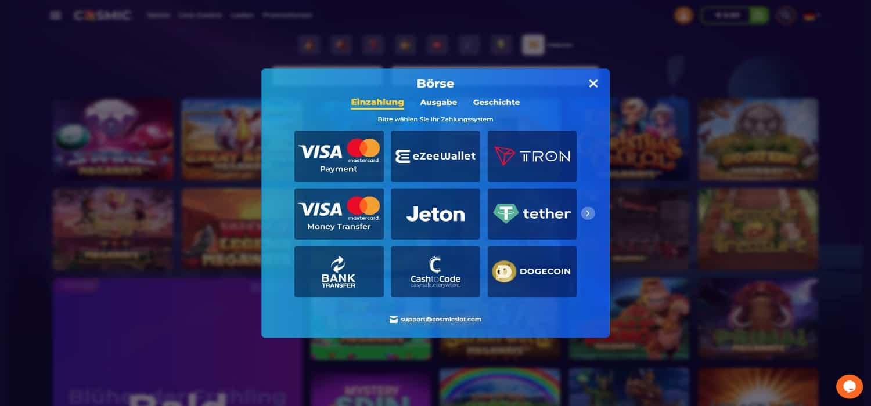 Cosmic Slot Casino Zahlungen