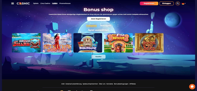 Cosmic Slot Casino Bonus Shop