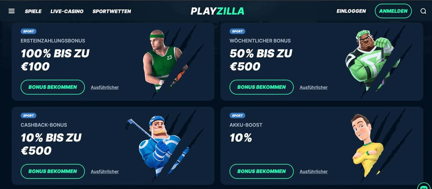 PlayZilla Bonus Aktionen