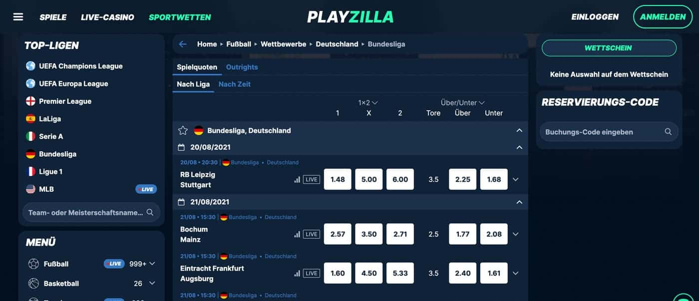 PlayZilla Bundesliga Wetten