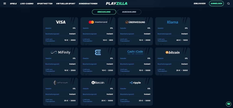 PlayZilla Zahlungen