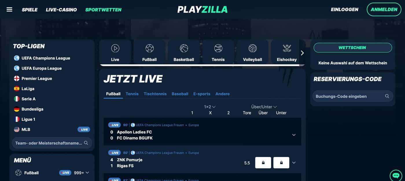 PlayZilla Live Wetten