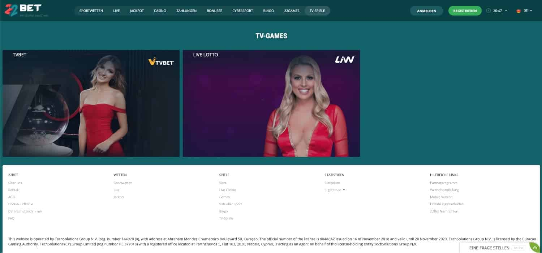 22Bet TV Casino